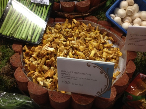 Gorgeous display of mushrooms at a very dear price.