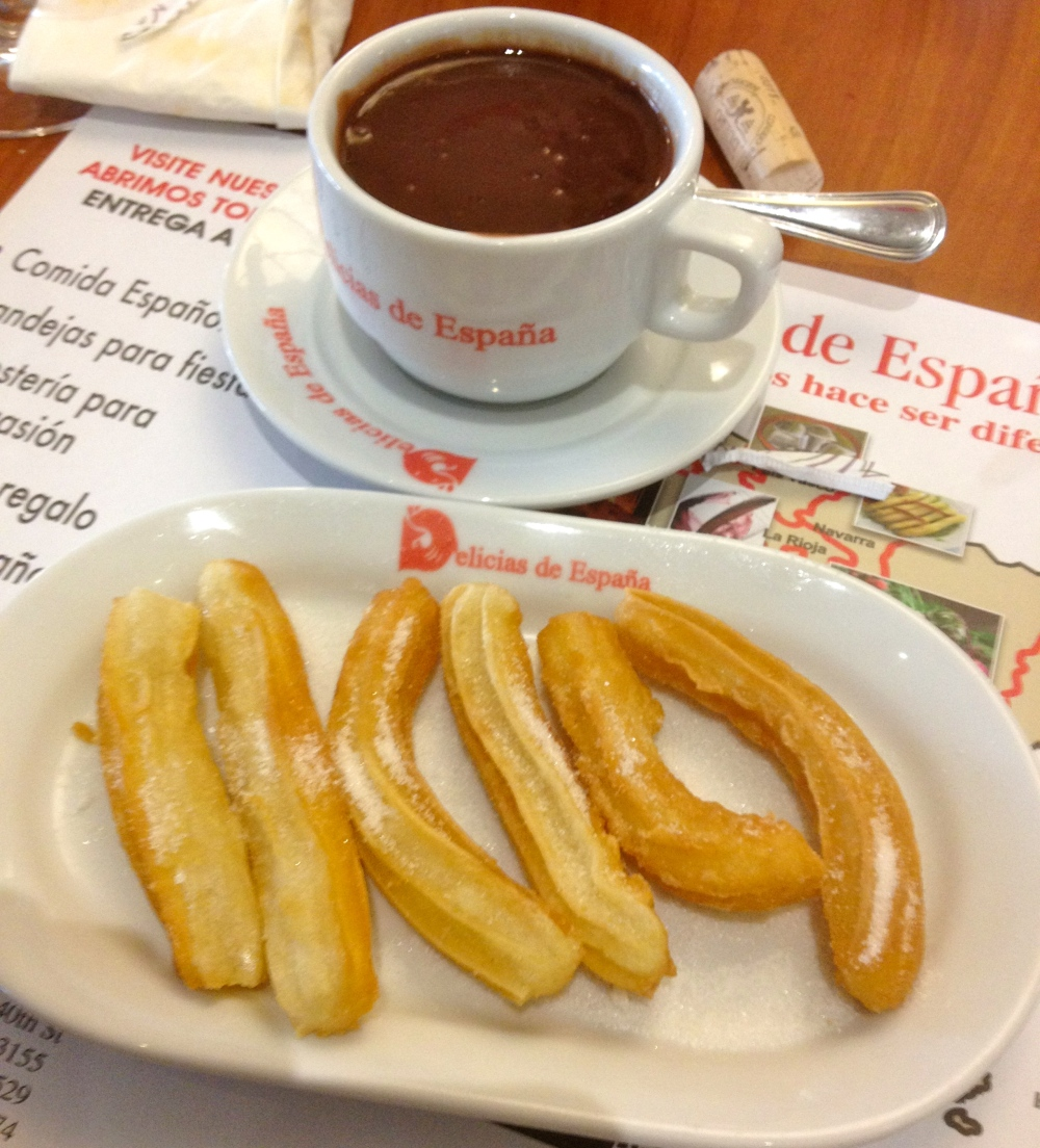 "Legit churros con chocolate. Man these bring back memories, and when I say back, I mean WAY back. I remember being in Spain one time with my family and for weeks all I did was ask for ""churros con chocholate"" We were in a restaurant in Madrid and my dad made the waiter go get some for us. They make it right here."